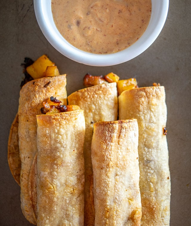 What a treat to find some Potato Chorizo Taquitos in the fridge! Just give 'em 20 minutes in the oven and dinner is served. Yum! mexicanplease.com
