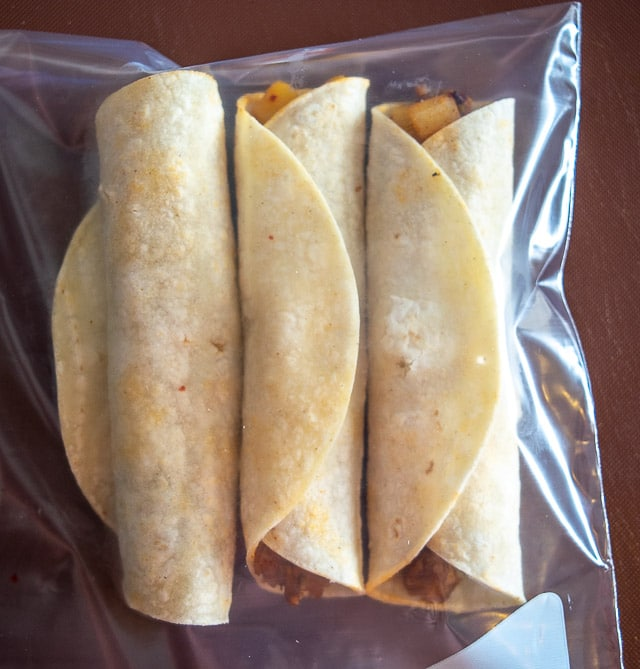 Storing Potato Chorizo taquitos in a Ziploc for freezing