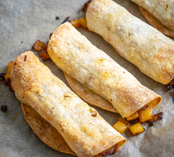 Taquitos after baking for 20 minutes