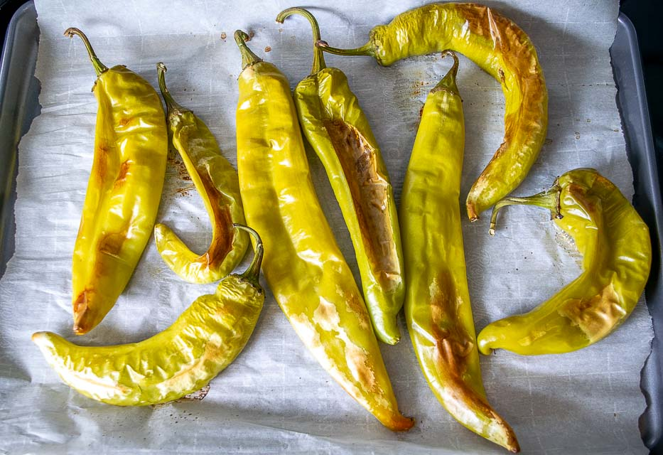 8 Hatch chiles after roasting for 30 minutes