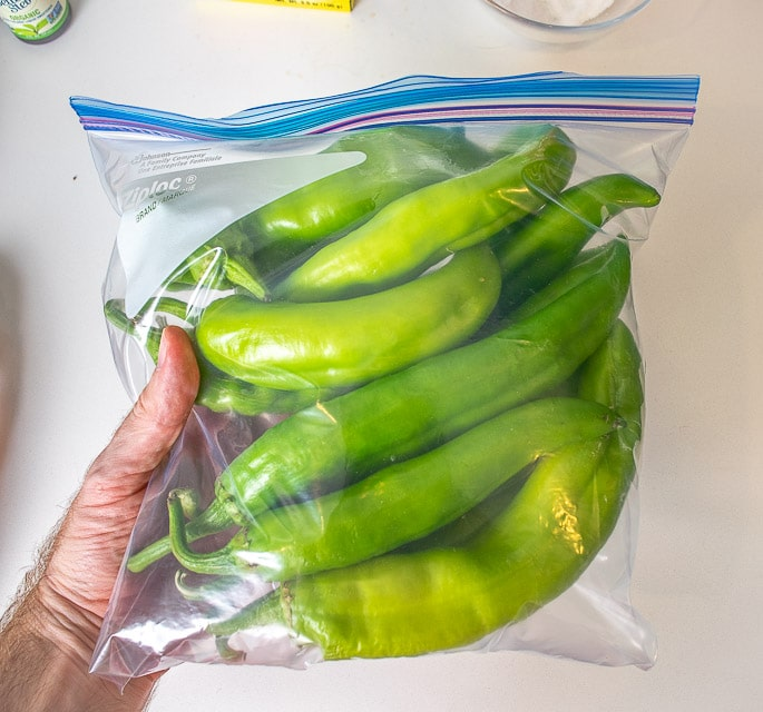 Ziploc full of Hatch green chiles