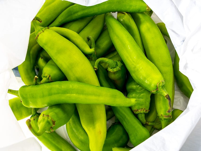 Grocery bag full of fresh Hatch chiles