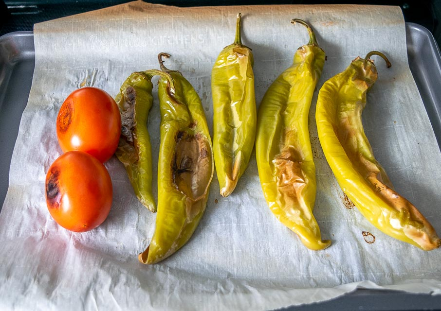 Hatch chiles after roasting for 25 minutes