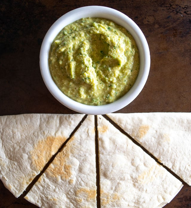 Serving Jalapeno Hummus with a cheese quesadilla