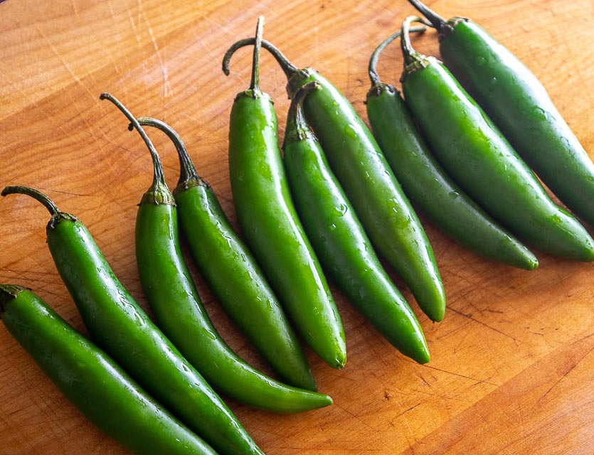 Serrano chiles for quick pickling