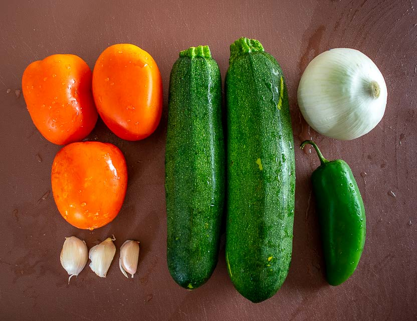 Veggie ingredients for Calabacitas