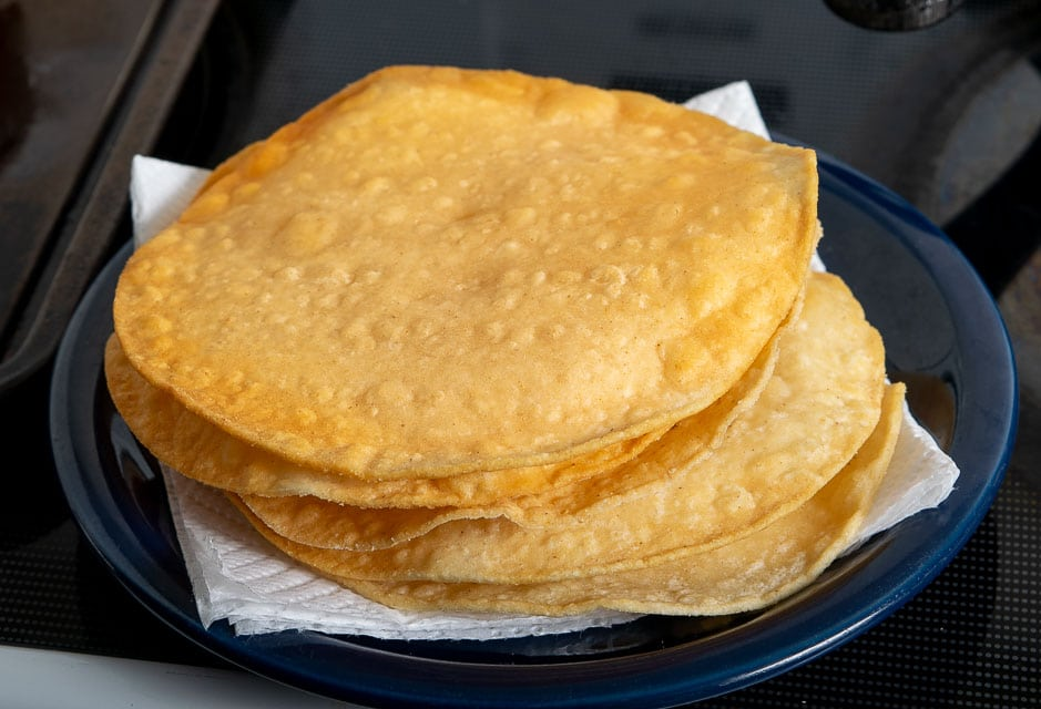Stack of corn tortillas after frying