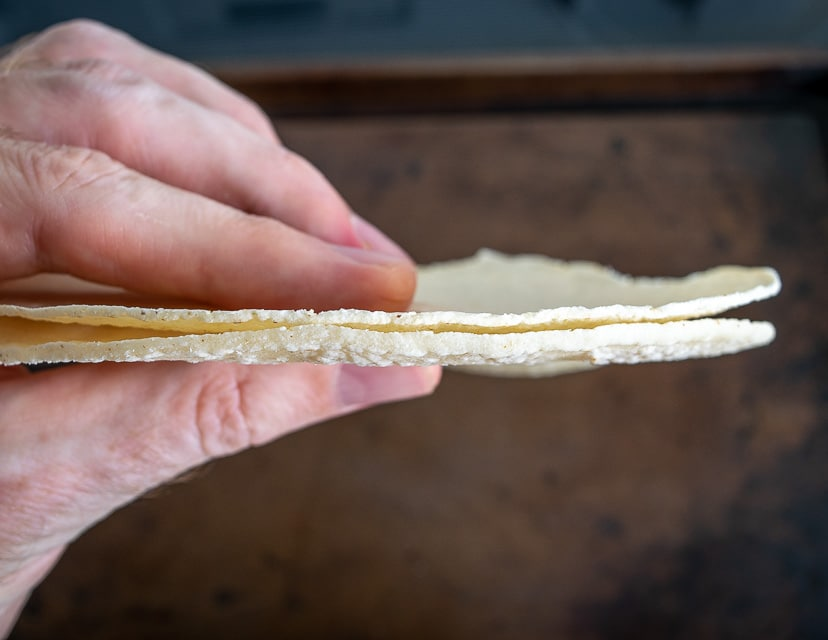 "Comparing a ""for frying"" tortilla to a standard sized tortilla"