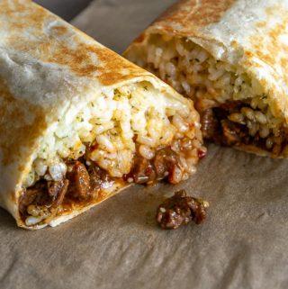 Burritos cut in half