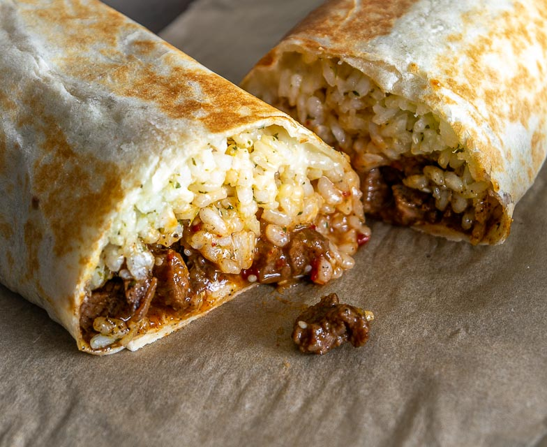 Burritos cut in half