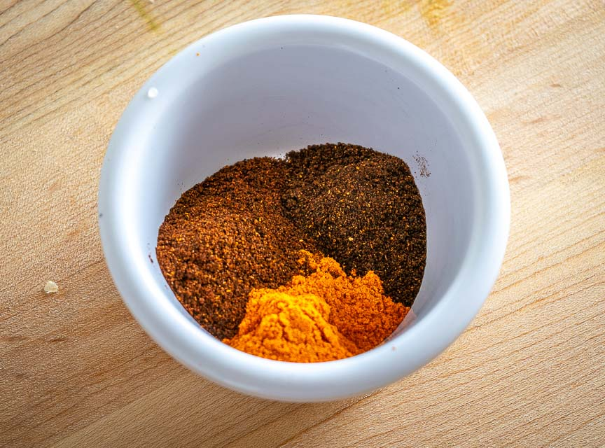 Spice rub made from New Mexican, Chipotle, and Ancho chile powders