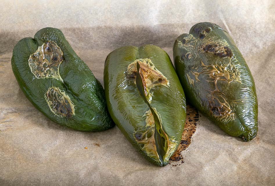 Poblano peppers after roasting for 30 minutes