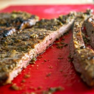Closeup of Carne Asada after cooking in cast iron pan