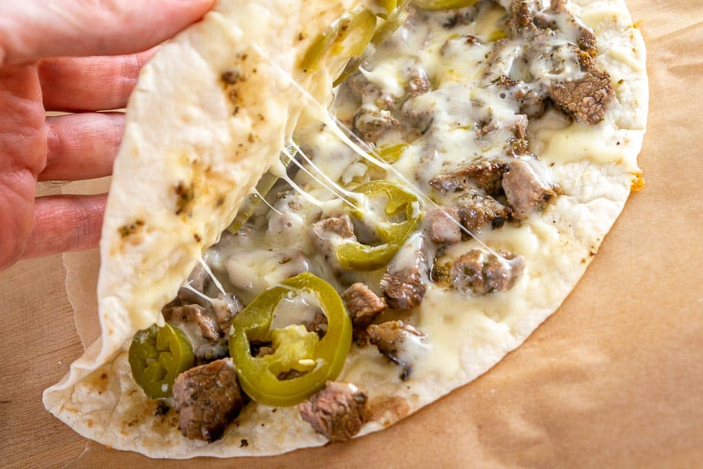 Carne Asada quesadilla with Jack cheese and Pickled Jalapenos