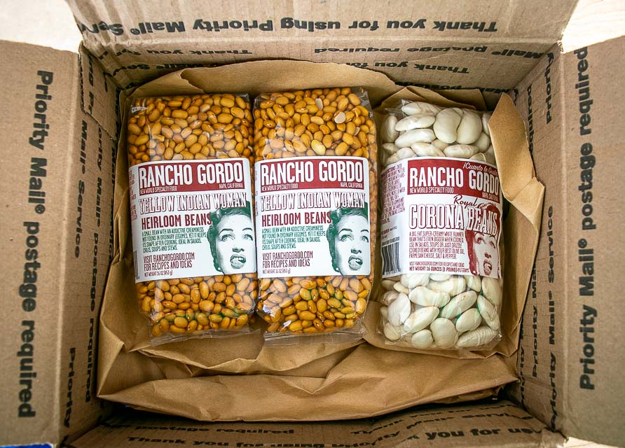 box of Yellow Indian Woman beans from Rancho Gordo