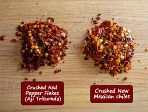 Comparing crushed red pepper flakes to crushed New Mexican chiles