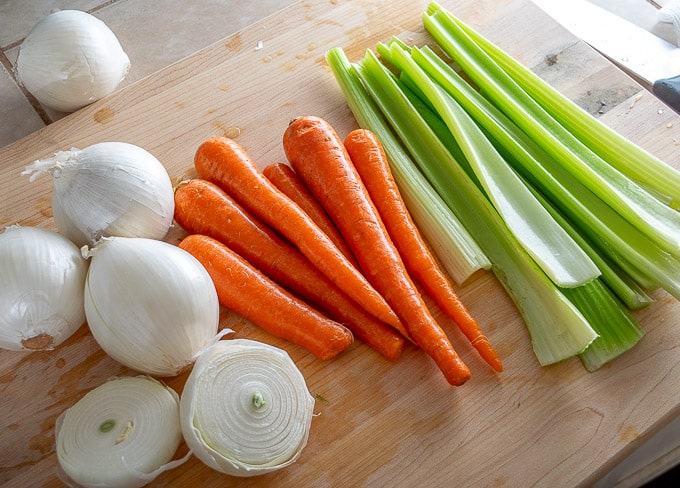 Traditional mirepoix for vegetable stock