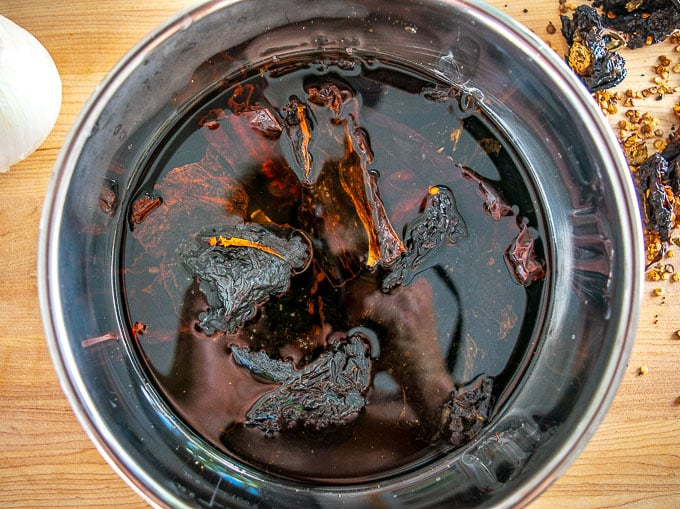 Reconstituting the dried chiles