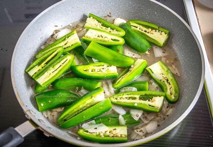 Adding a single pound of jalapenos to the pan
