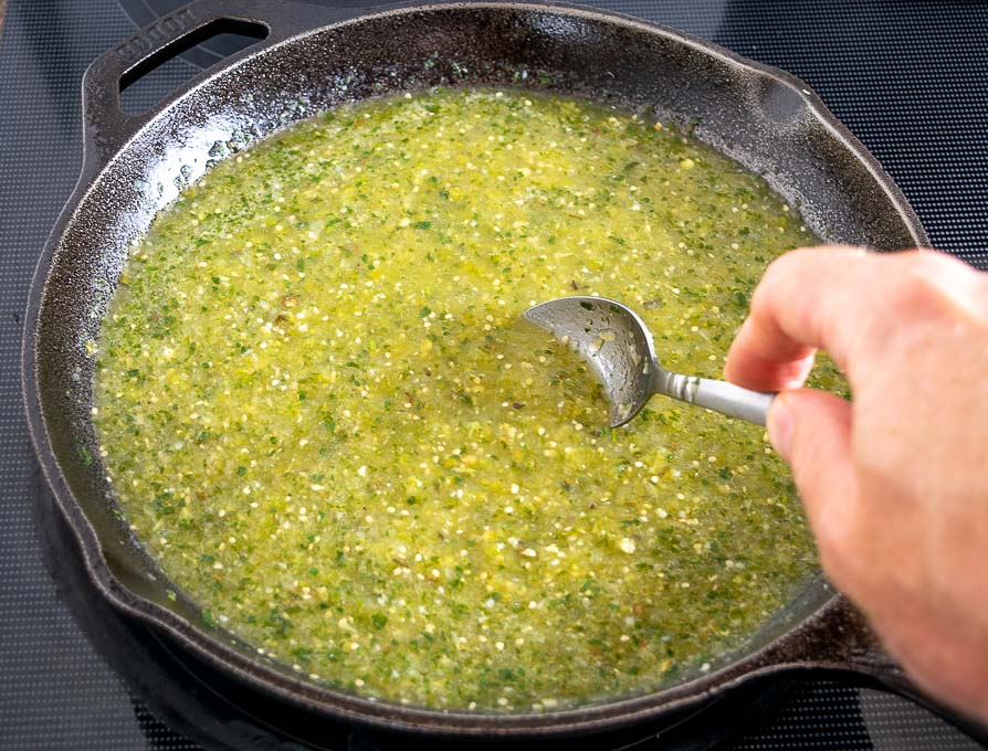 Adding Mexican oregano to green enchilada sauce