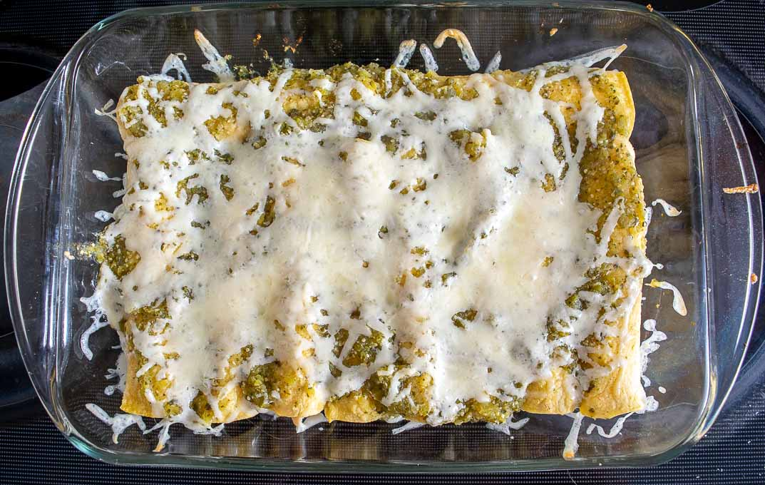 Enchiladas right after baking with melted cheese