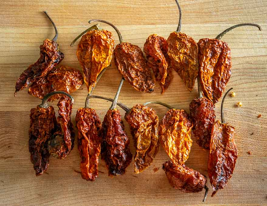 Dried Bhut Jolokia chile peppers