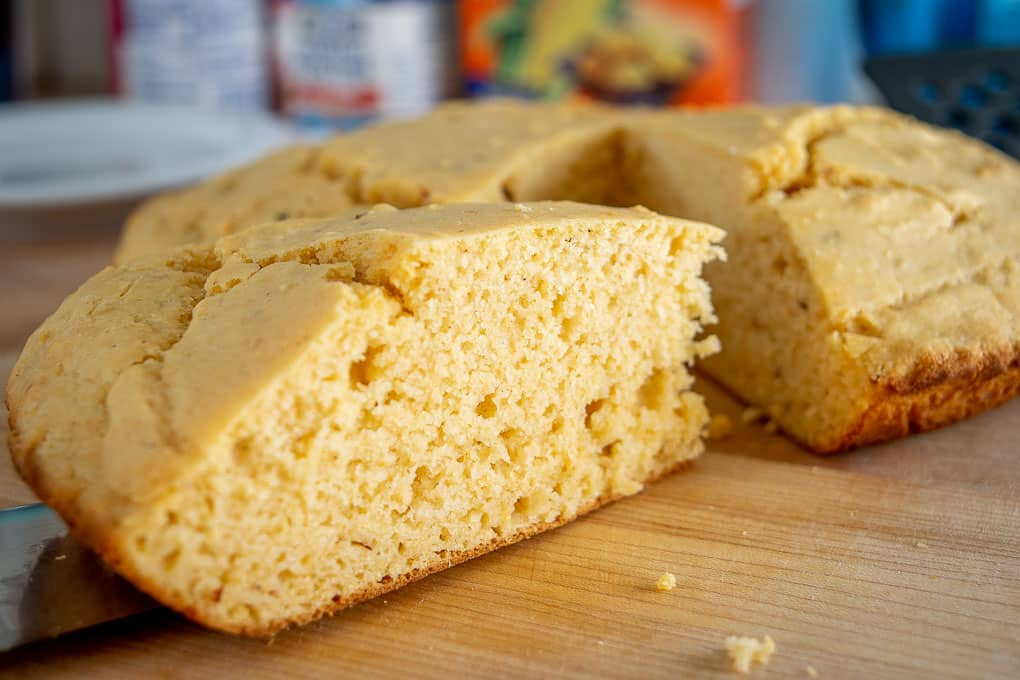 I used Masa Harina instead of cornmeal in this batch of cornbread and it was delicious! I also used chipotles in adobo for some kick 🙂 mexicanplease.com