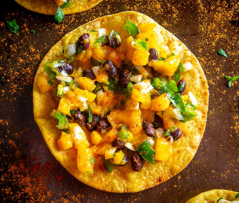 Single Mango Black Bean Tostada
