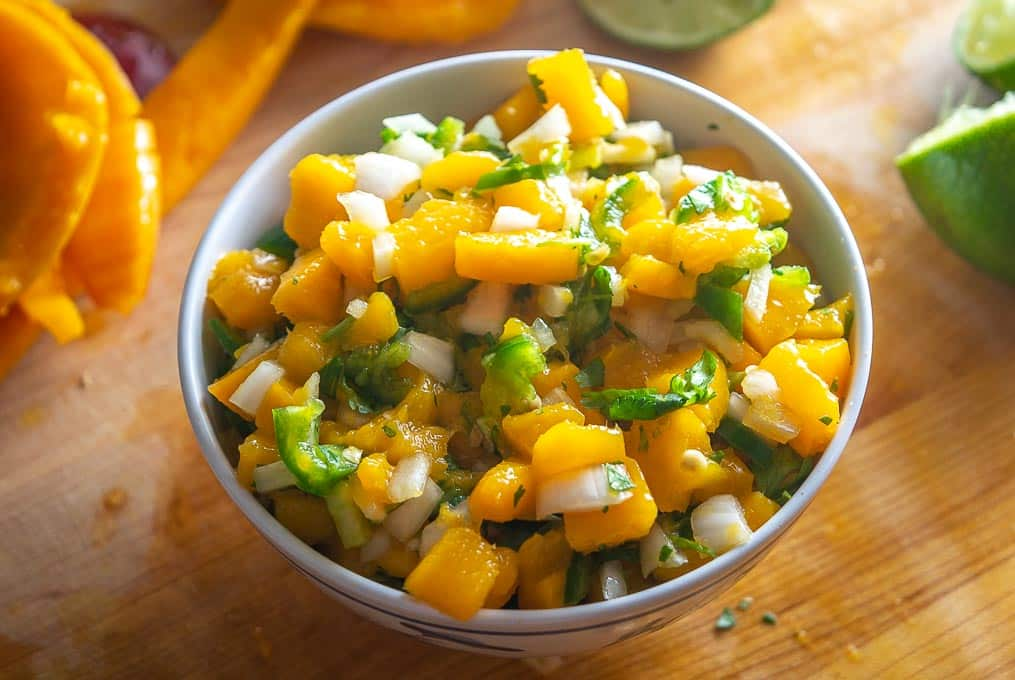 Mango salsa after being chopped up