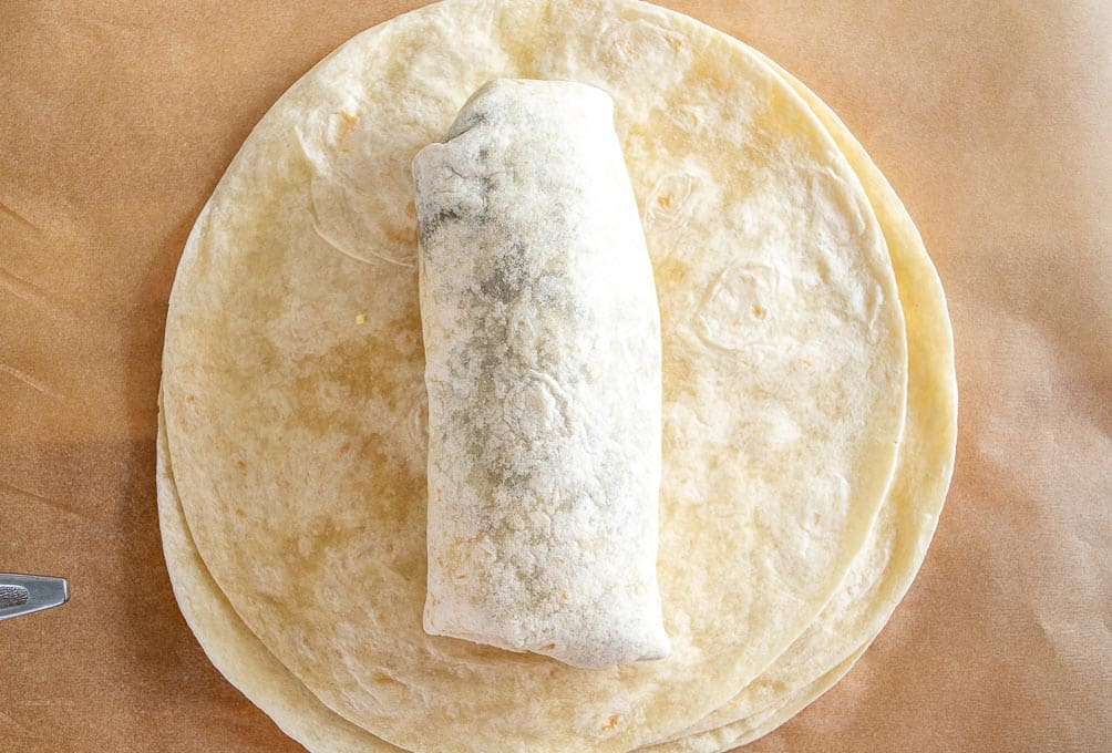 A single folded burrito