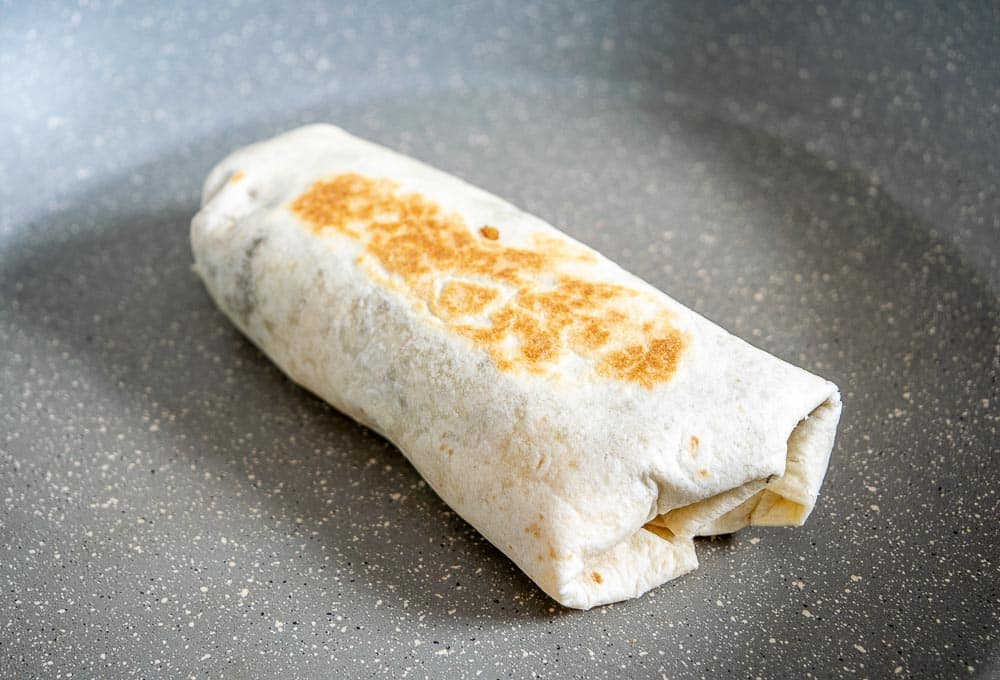 Crisping up breakfast burrito in a dry skillet