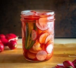 I love making a quick batch of these Spicy Pickled Radishes when I have extra radishes laying around. It only takes 5 minutes to put them together and you'll be able to munch on them for weeks!