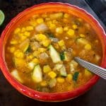It's easy to turn Calabacitas into a lip-smacking soup! Try to use some stock that you trust as it can make a huge difference -- I used homemade veggie stock for this batch.