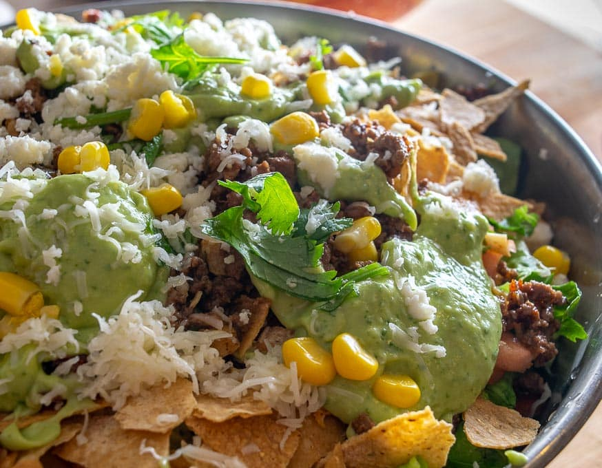 Closeup of Ground Beef Taco Salad