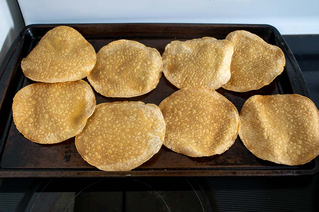 Corn tortillas after baking for 8-9 minutes