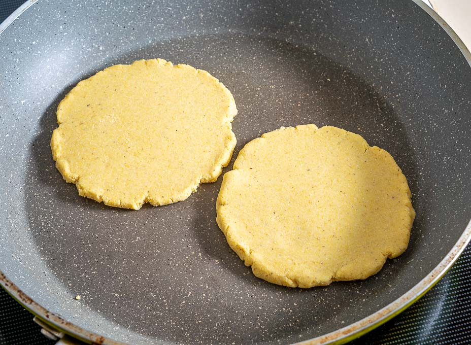 Cooking Sopes for 2 minutes per side