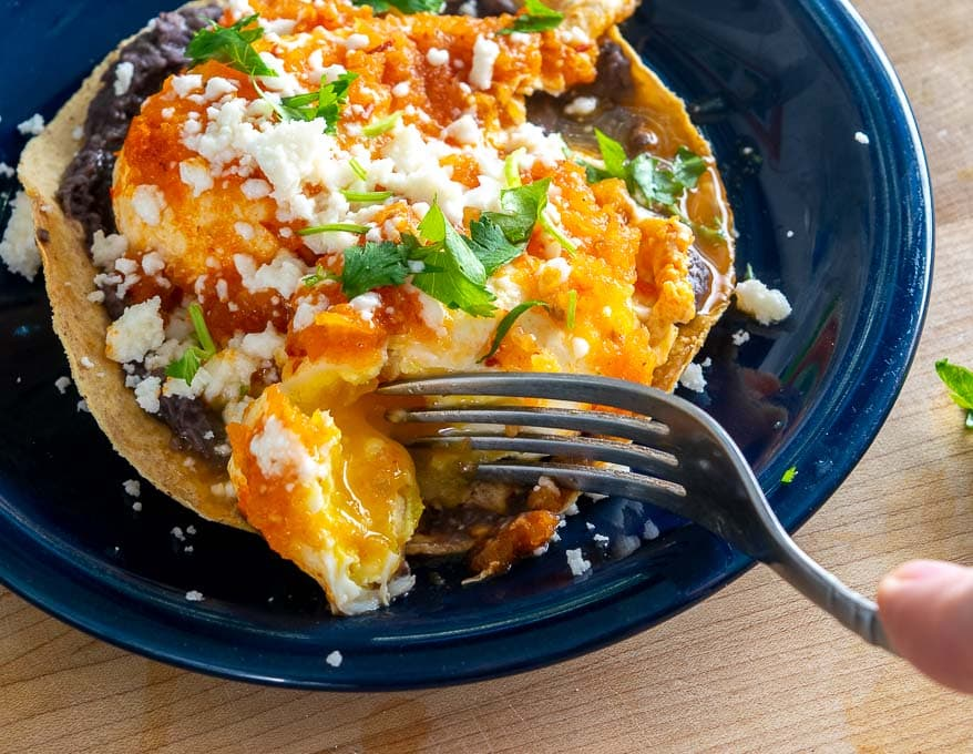 Yesterday I poached some eggs in Chipotle Salsa and they were delicious! I served them on top of some tostadas along with a layer of refried beans. mexicanplease.com