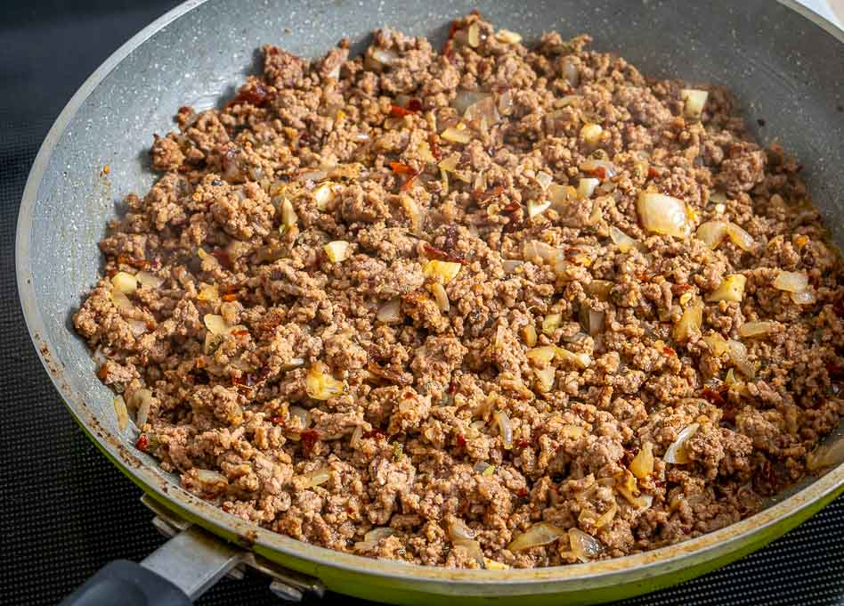 Ground beef after adding all of the spices