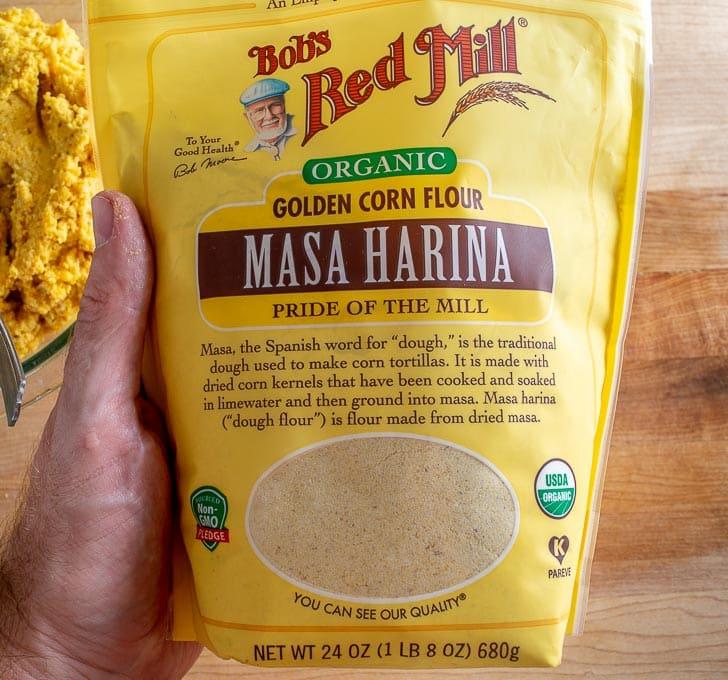 Masa Harina used to dry out the masa dough