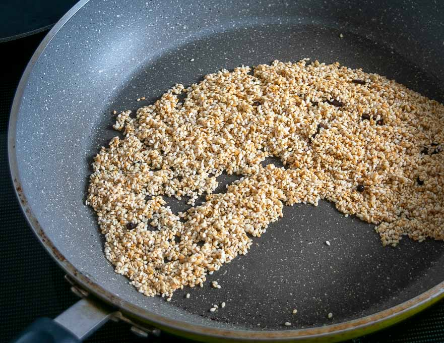 Toasting sesame seeds, cloves, and peppercorns
