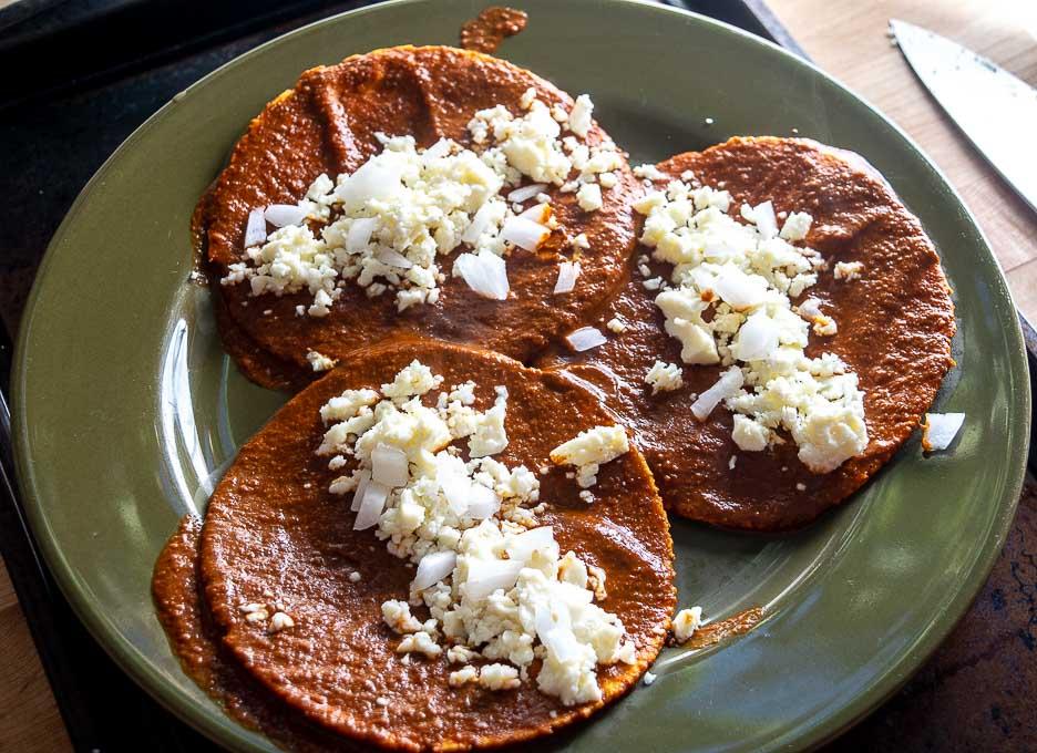 Mole Coloradito served up Entomatadas style