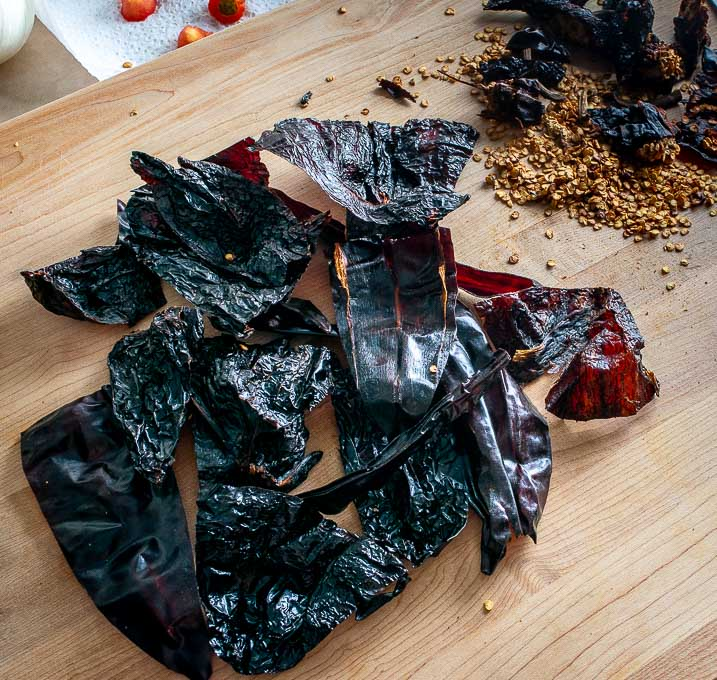Ancho and New Mexican dried chiles after being de-stemmed and de-seeded
