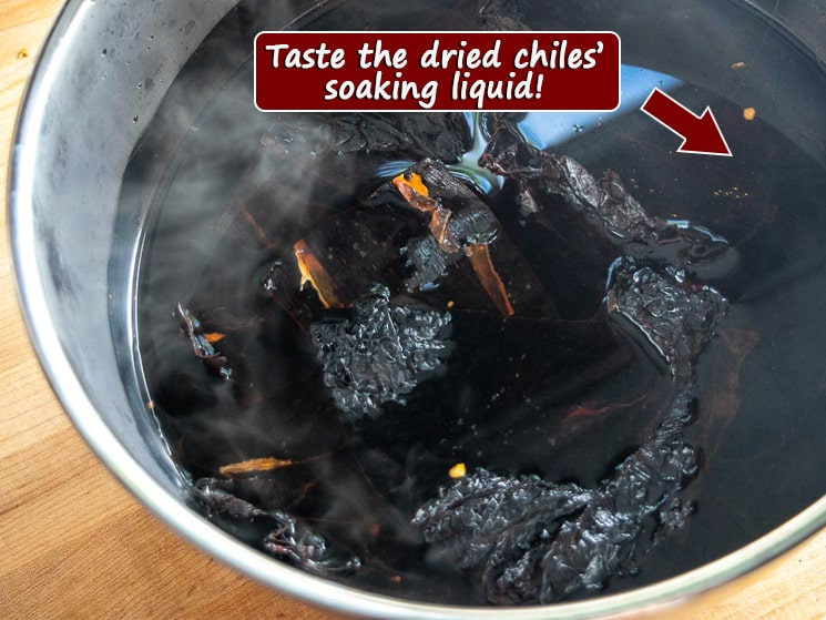 Taste the Dried Chiles soaking liquid graphic