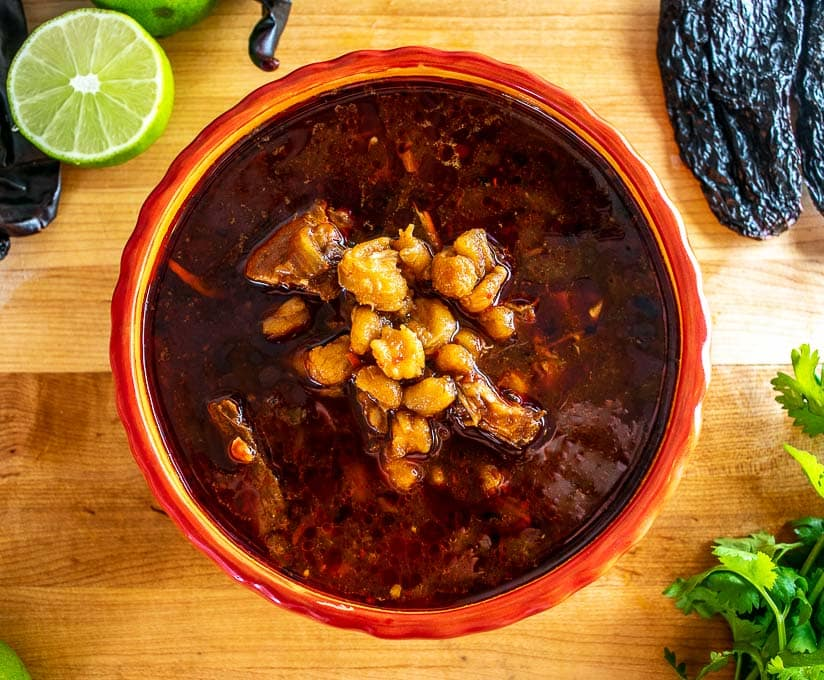 Bowl of Pozole Rojo with no garnishes