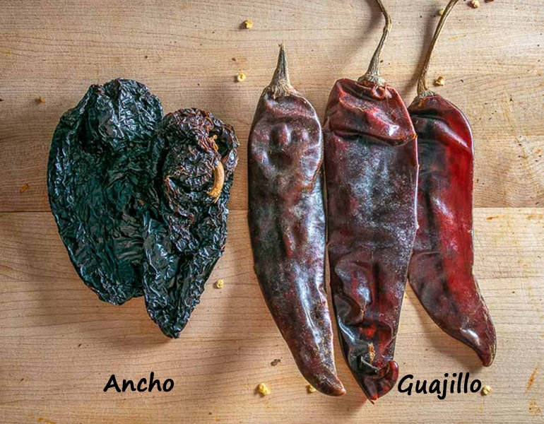 Ancho and Guajillo dried chiles, 2 oz.