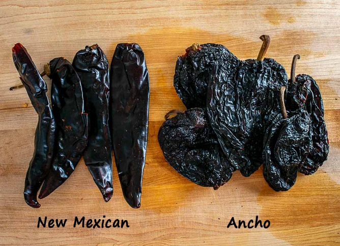 Ancho and New Mexican chiles for Mole sauce