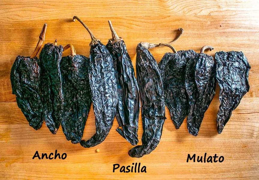 Holy Trinity of dried chiles: Ancho, Mulato, Pasilla