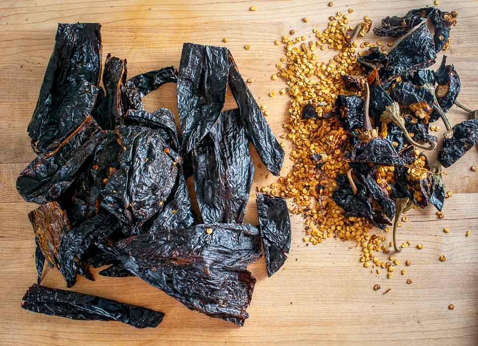 Dried chiles after being de-seeded and de-stemmed