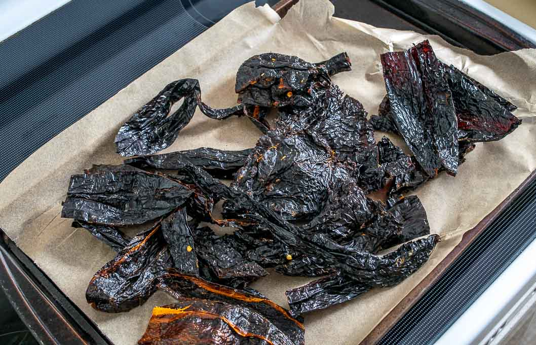 Roasting dried chiles in the oven at 400F