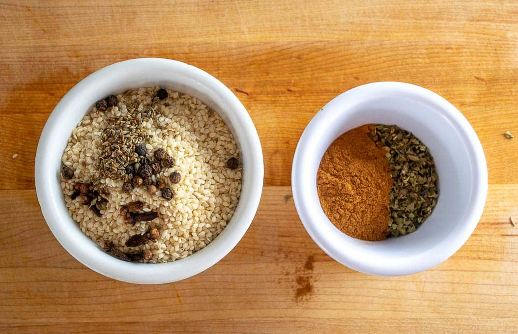 Dry spices for Mole Poblano